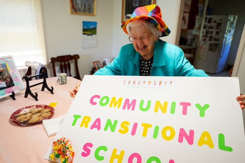 PMG PHOTO: CLARA HOWELL  - Phyllis Seeger, 98, makes crafts to sell and later donates the proceeds to Portland's Community Transitional School.