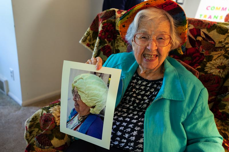 PMG PHOTO: CLARA HOWELL  - Phyllis Seeger will be at the July 24 Lake Oswego Farmers Market wearing a famed funky hat.