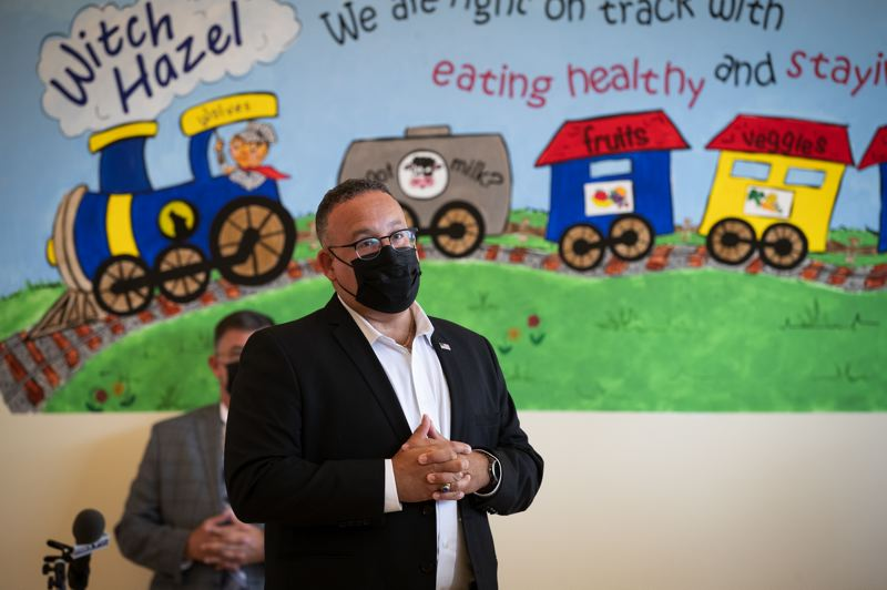 PMG PHOTO: JAIME VALDEZ - U.S. Secretary of Education Miguel Cardona, pictured at Witch Hazel Elementary School in Hillsboro, is visiting states across the country to observe recent federal education funding at work.