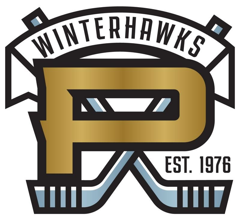 COURTESY PORTLAND WINTERHAWKS - The new Portland Winterhawks secondary logo, which will be worn as a shoulder patch on jerseys, features a gold P and 'squall grey' hockey sticks.