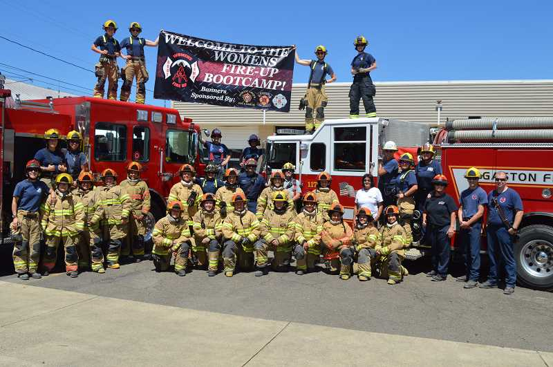 COURTESY PHOTO - Instructors and participants at the last Fire Up Bootcamp Academy pose for a photo in Gaston. This year's event is scheduled for Aug. 21-22 at Gaston Station 11.