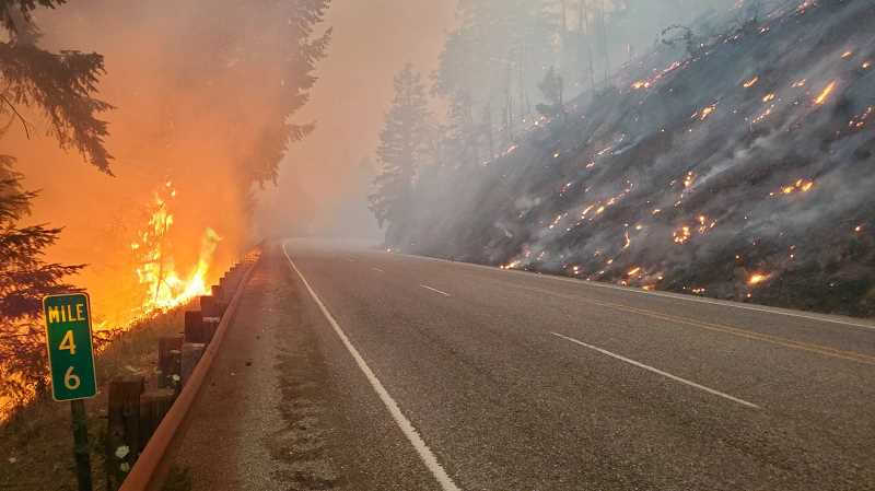 COURTESY PHOTO: ODOT - The Jack Fire is currently burning in Oregon, east of Roseburg near Glide.