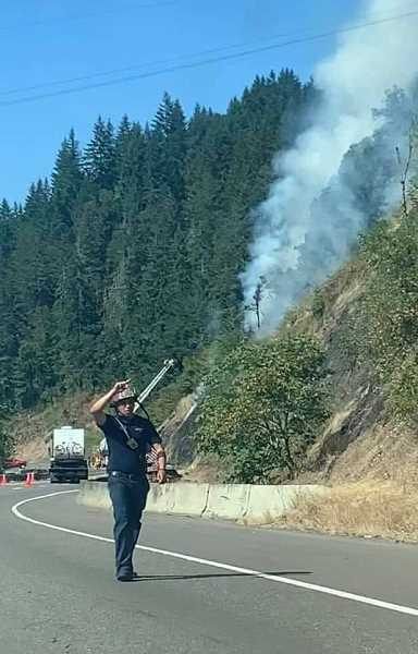 COURTESY PHOTO: MOLALLA FIRE - Firefighters battle the wildfire between Oregon City and Canby that broke out on July 14.