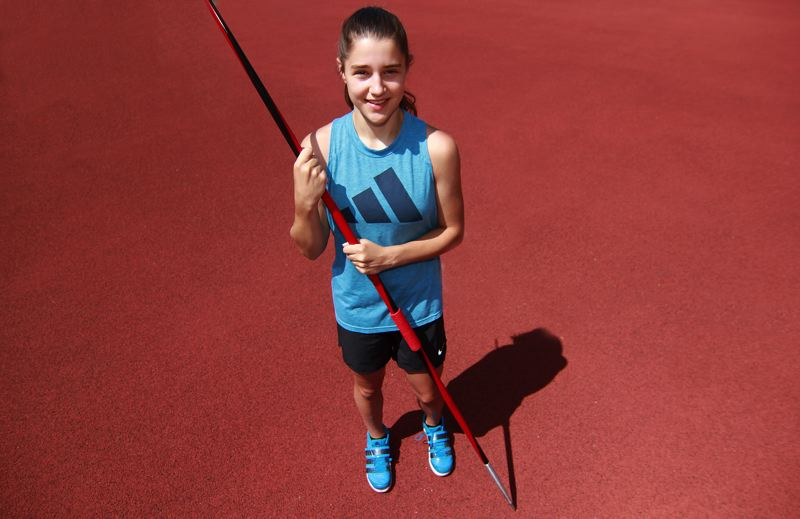 PMG PHOTO: MILES VANCE - Kylie Fox, an incoming freshman at Wilsonville High School, currently holds the nation's top throw in the javelin for girls ages 13-14.