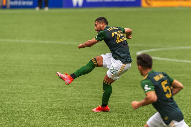 PMG PHOTO: DIEGO G. DIAZ - Bill Tuiloma follows through on his free kick that produced Portland's only goal in a May 9 loss to Seattle at Providence Park.