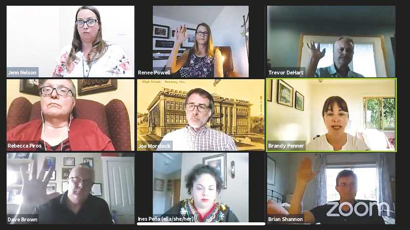 PMG PHOTO - The Newberg School District board of directors met via Zoom July 13 for a sometimes contentious meeting.