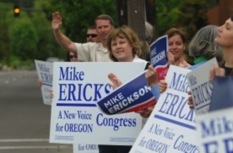 PMG FILE PHOTO: VERN UYETAKE - Mike Erickson and his supporters greeted Republican primary election voters in downtown Lake Oswego on May 20, 2008.