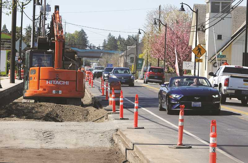 PMG FILE PHOTO - Work continues on a major project to rebuild a stretch of Highway 99W through Dundee.