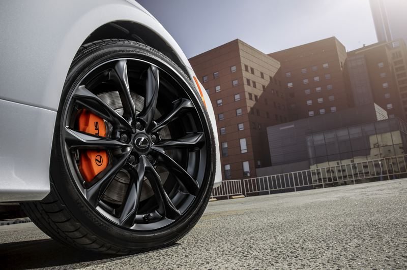 COURTESY LEXUS - The dark five-spoke wheels with the Black Line Special Edition packge highlight the orange calipers included with the F Sport handling package.