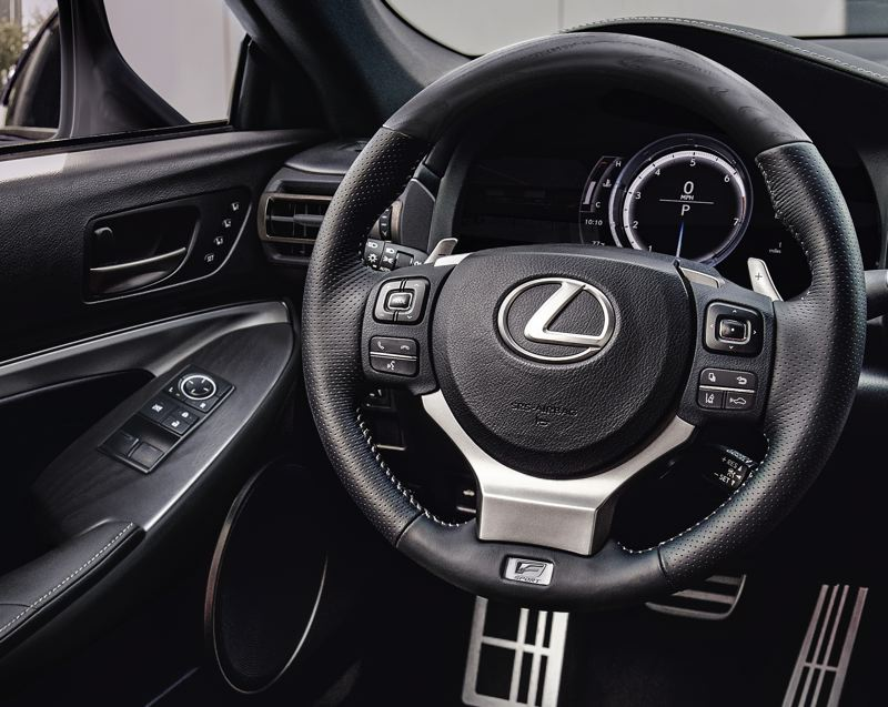 COURTESY LEXUS - The F Sport package includes a special heated steering wheel, aluminum pedals and other special interior trim.