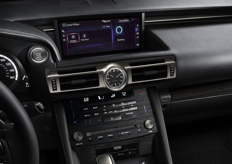 COURTESY LEXUS - The stacked center console in the 2021 Lexus RC 350  includes one of the few CD players available with any new vehicle these days.