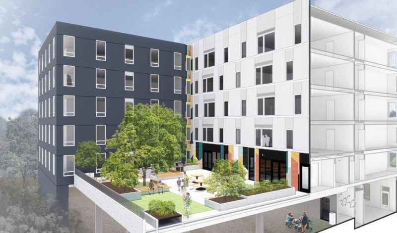 COURTESY RENDERING - A new Tigard affordable housing apartment building dubbed The Viewfinder features a community courtyard.