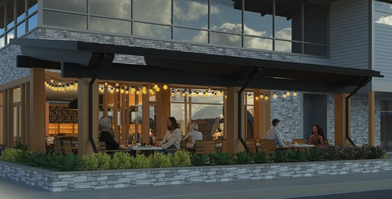 COURTESY RENDERING - Willamette Valley Vineyards is opening a winery restaurant this winter in the Oswego Village Shopping Center.