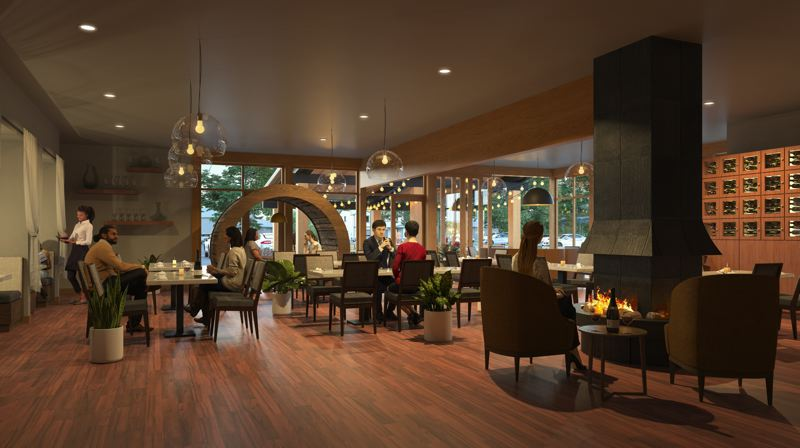 COURTESY RENDERING - Willamette Valley Vineyards will offer indoor and outdoor seating at the new downtown Lake Oswego location.