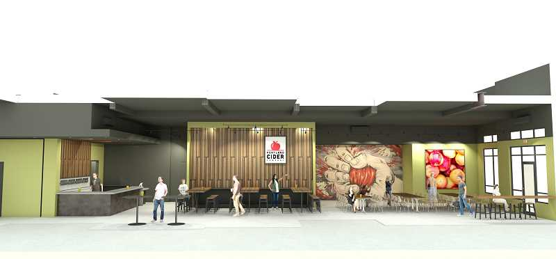 COURTESY PHOTO: STEELHEAD ARCHITECTURE - Renderings of the inside of the new Portland Cider Co. location slated to open at the Beaverton West End District next spring.