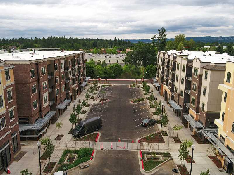 COURTESY PHOTO: C&R REAL ESTATE SERVICES CO. - An aerial view shows buildings in the Beaverton West End District, a new mixed-use development that welcomed its first tenants this month., Beaverton Valley Times - News  Beaverton