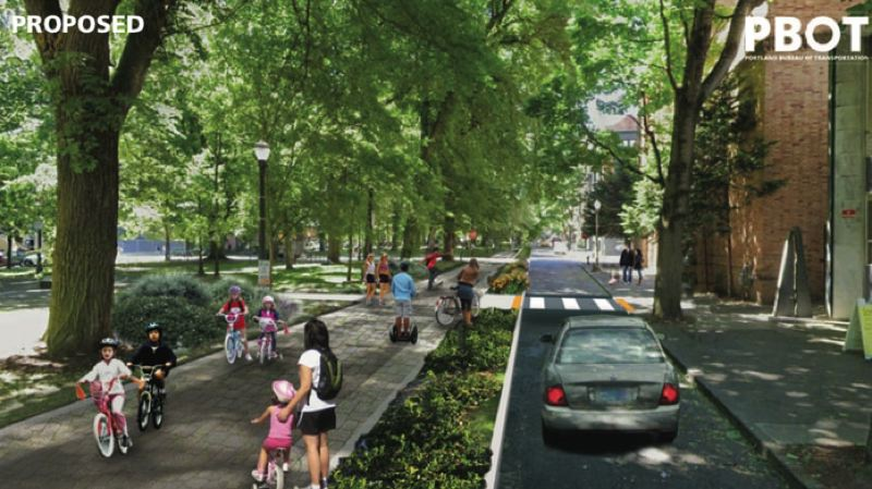COURTESY RENDERING: CITY OF PORTLAND - An artist's rendering of the revamped South Park Blocks with the proposed Green Loop multiuse path.