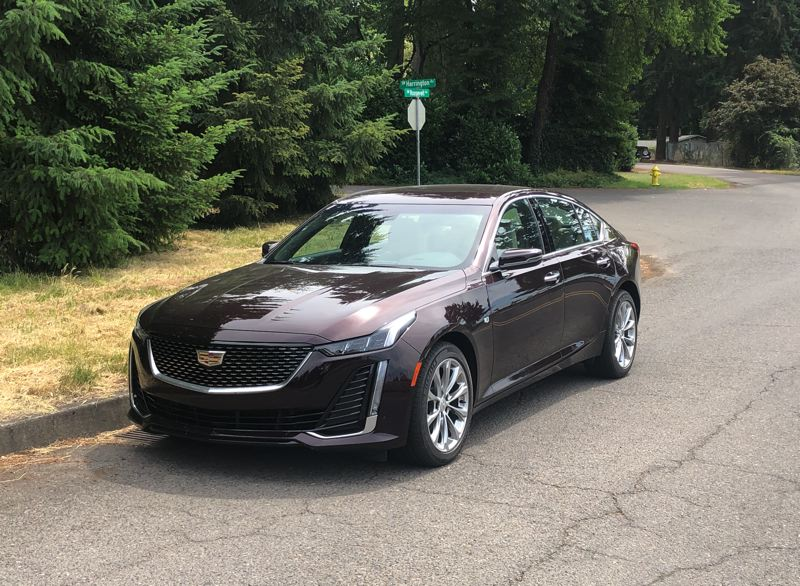 PMG PHOTO: JEFF ZURSCHMEIDE - The stylish 2021 Cadillac CT5 can be ordered with a choice of two engines, rear- or all-wheel-drive, and practically every available advanced automotive technology.
