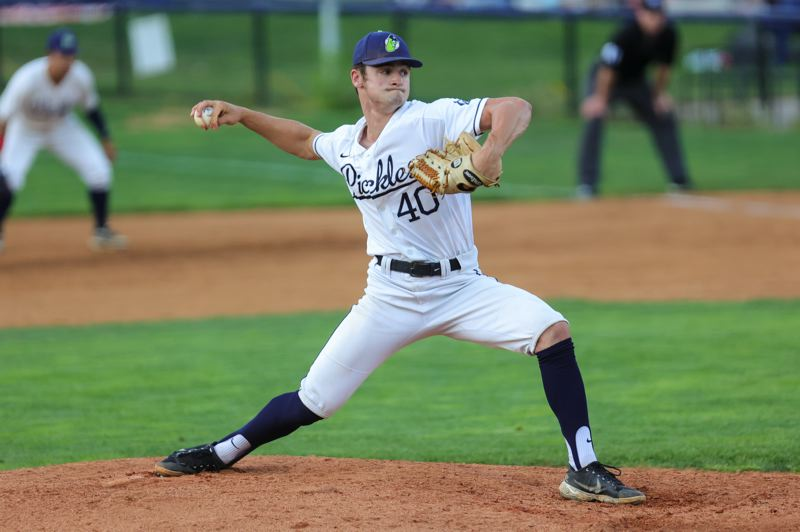 PMG PHOTO: JONATHAN VILLAGOMEZ - KJ Ruffo, a catcher turned pitcher from Putnam High and the University of Portland, is using his summer with the Portland Pickles to work on his transition to the mound.