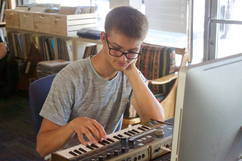 PMG PHOTO: CHRISTOPHER KEIZUR - Jack Nokleby likes to incorporate a microKORG synthesizer into his music — a piece of equipment available at Midschool.