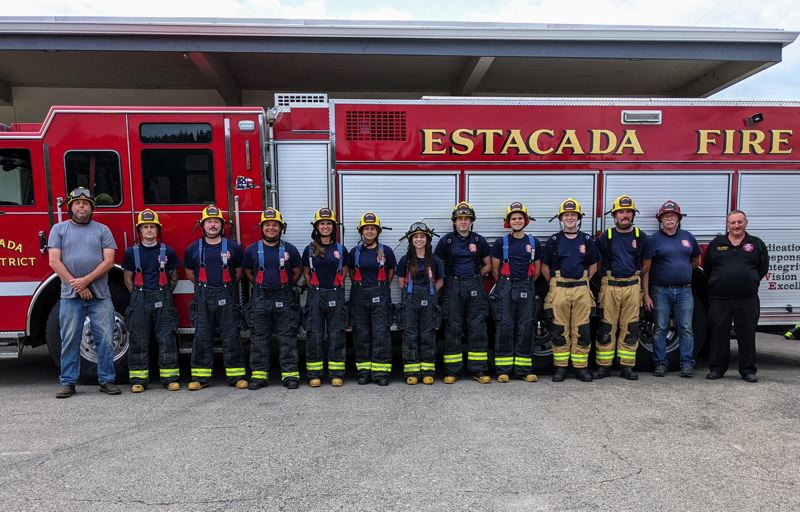 COURTESY PHOTO: JENN KING - Estacada Fire volunteers completed a four month training academy prior to the relaunch of the district.