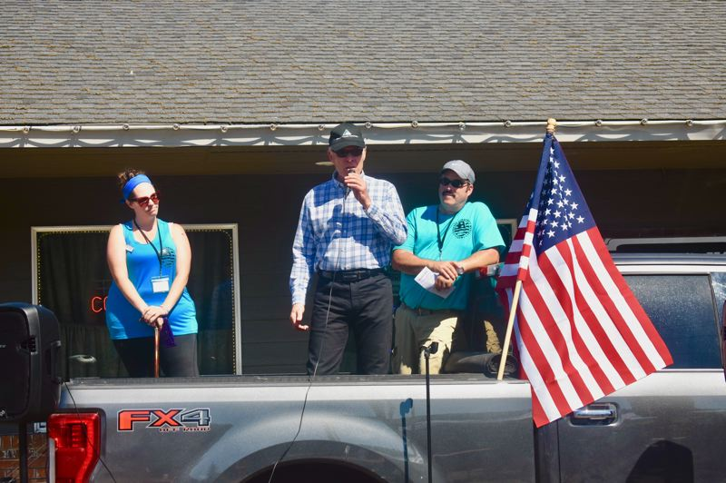 PMG PHOTO: EMILY LINDSTRAND - Clackamas County Comissioner Mark Shull speaks during an event in Estacada honoring first responders.