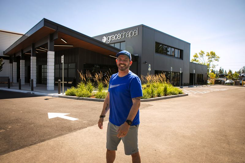 PMG PHOTO: JAIME VALDEZ - Lead Pastor Mike Tatlock stands at the front of the new Grace Chapel building on SW Parkway Avenue in Wilsonville.