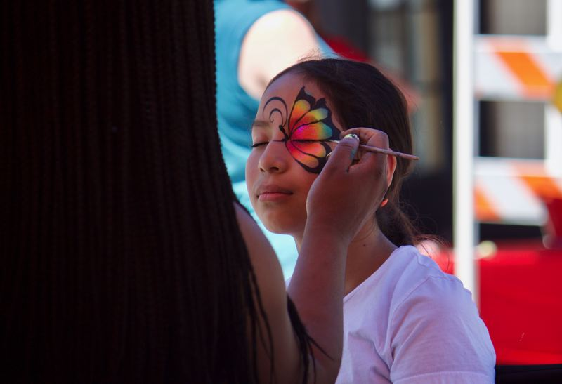 PMG PHOTO: CHRISTOPHER KEIZUR - Many kids got their faces painted during the Gresham Arts Festival Saturday, July 17.