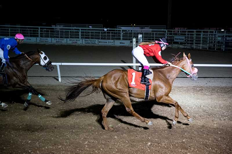 LON AUSTIN - Jockey Taylor Smith comes in first place aboard Dieci on Friday night's race 7. The largest payout of the meet with $6,584.70 trifecta was on Saturday night's race 7.