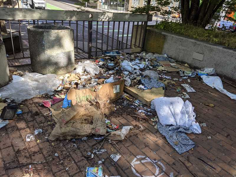 COURTESY PHOTO: HENNEBERY EDDY ARCHITECTS  - Before: SOLVE, Portland Parks and Hennebery Eddy staff picked up 800 lbs of litter at O'Bryant Square around Juneteeth. The architecture firm has a vision for making the square more user friendly.