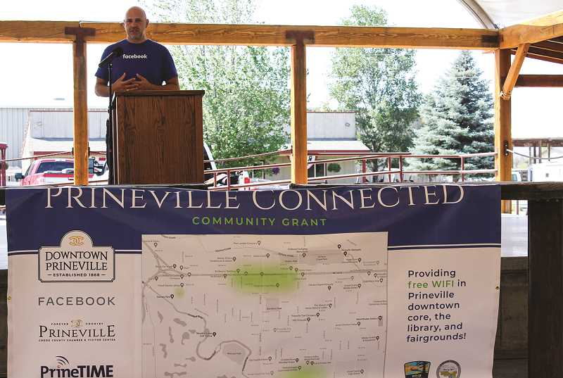 JASON CHANEY - Facebook Community Development Regional Manager William Marks addresses the audience at the announcement ceremony, held at Crook County Fairgrounds last Monday.