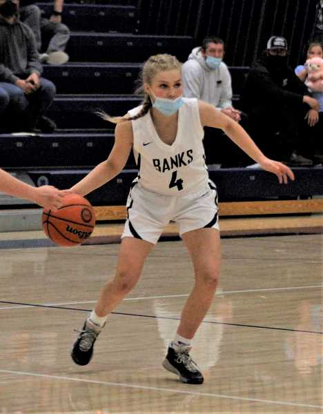 PMG FILE PHOTO - Banks' Kate Hailey was selected as a first team All-Cowapa League honoree for the Braves in 2021. Hailey helped lead Banks to an 8-3 overall record in 2021.