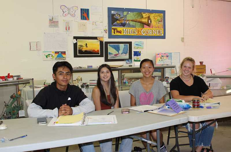 HOLLY SCHOLZ/MADRAS PIONEER - Pictured left to right are Key Club members Yael Carlon, Jazmine Serrano, Kelly Huang and Hannah Holliday.