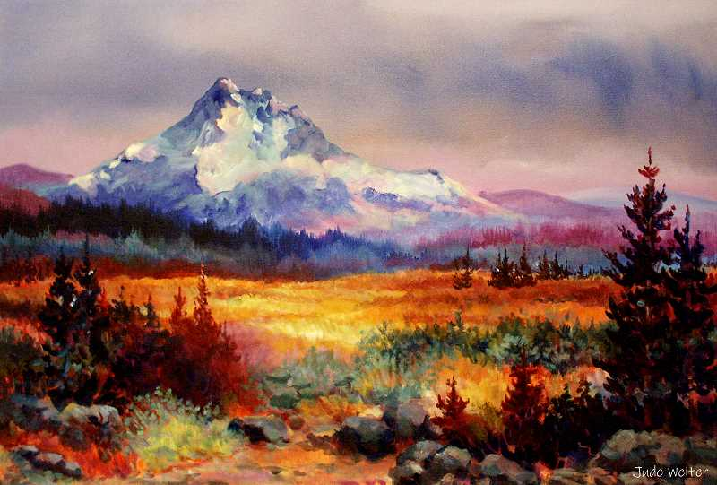 COURTESY PHOTO: TRIESTE ANDREWS - Jude Welter, whose Mount Jefferson acrylic painting is featured, will be among 60 artists with booths at the Oregon City Festival of the Arts.