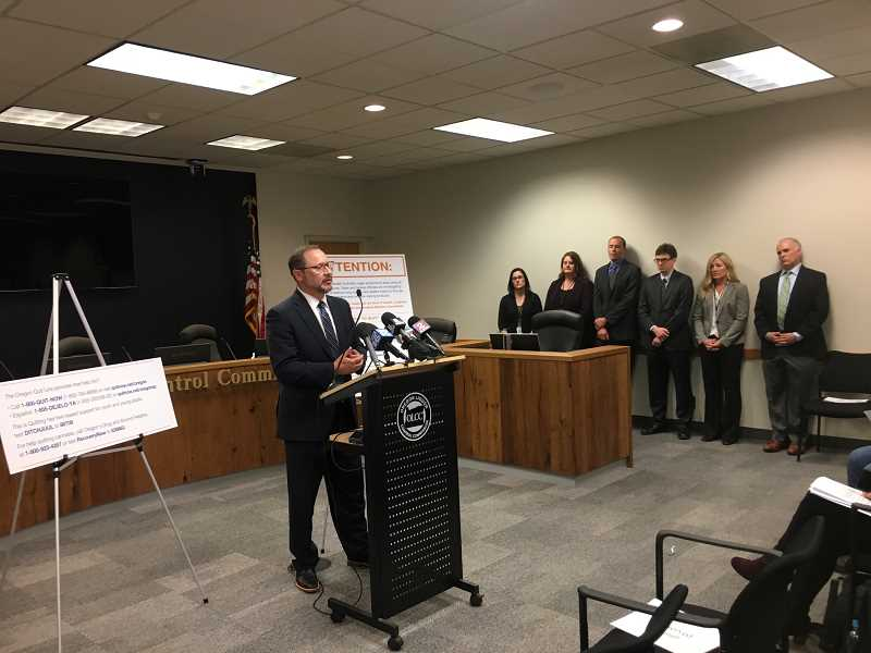 OREGON CAPITAL BUREAU: SAM STITES - OLCC Director Steve Marks addresses the media following the OLCC board's unanimous approval of temporary rules implementing a six month ban on all flavored vaping products as directed by Gov. Kate Brown's executive order in 2019.