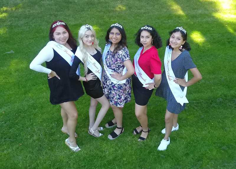 COURTESY PHOTO: CITY OF WOODBURN - The 2021 Fiesta Court, left to right, Eveline Morales, Jael Garcia, Jocelyn Mendez, Brenda Martinez and Aide Robles.