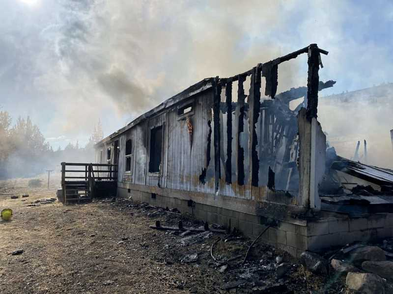 WARM SPRINGS FIRE AND SAFETY PHOTO - The cause of a fire that destroyed an abandoned trailer home in Warm Springs is under investigation.
