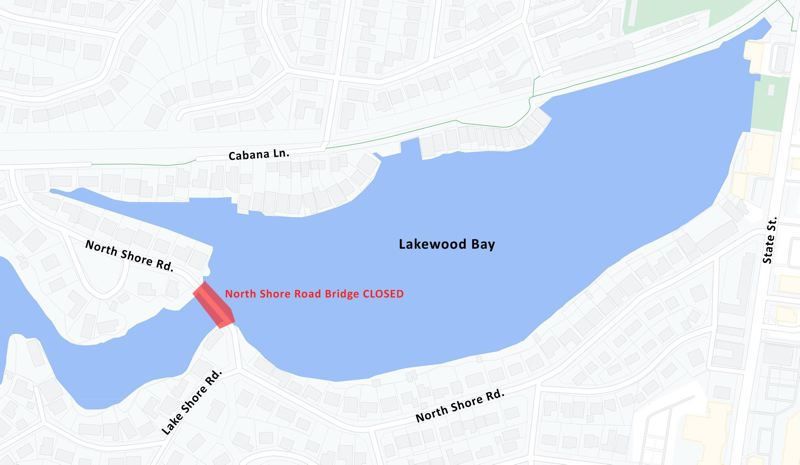 COURTESY MAP: CITY OF LAKE OSWEGO'S TWITTER - The North Shore Road Bridge is closed while structural issues in the nearby retaining wall are investigated.
