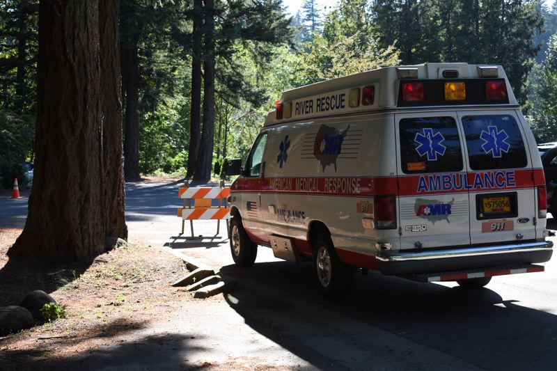 FILE - An American Medical Response ambulance is shown here on standby at Glenn Otto Community Park in Troutdale.