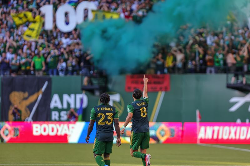 PMG PHOTO: JONATHAN VILLAGOMEZ - Diego Valeri's goal Wednesday was his 100th for the Timbers in all competitions.