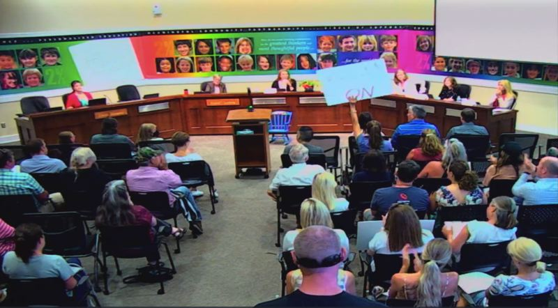 SCREENSHOT - The West Linn-Wilsonvile School Board meeting's public discussion was dominated by the topic of critical race theory on July 12.