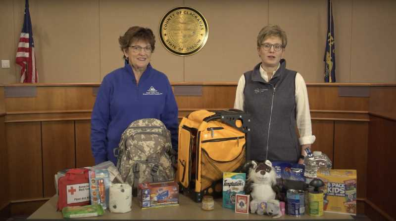 PHOTO COURTESY: CLACKAMAS COUNTY - Tootie Smith and Maria Pope give tips about disaster preparedness in a newly released video.