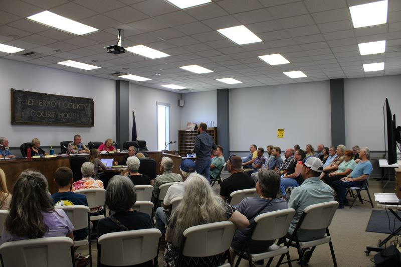 PAT KRUIS/MADRAS PIONEER - Culver residents fill the Planning Commission hearing to oppose an RV park locating on First Avenue, Culver's downtown commercial district. Commissioners rejected the proposal.