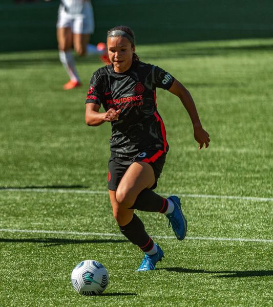 PMG FILE PHOTO: DIEGO G. DIAZ - Sophia Smith, shown here in a match against Chicago earlier in the season, scored the quickest goal in Portland Thorns' history, in 32 seconds as Portland won at Houston.