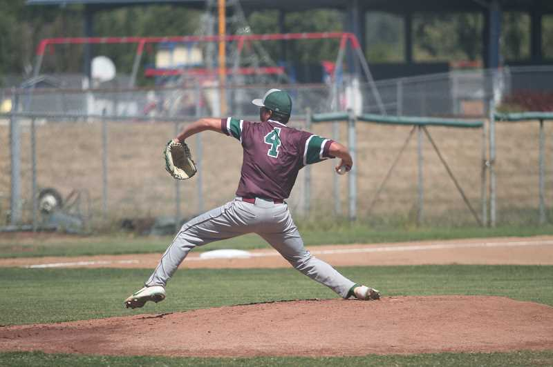 PMG PHOTO: TANNER RUSS - North Marions Hunter Hansen led the Berries from the mound to a 5-4 victory over the Newberg Tigers on Saturday, July 24.