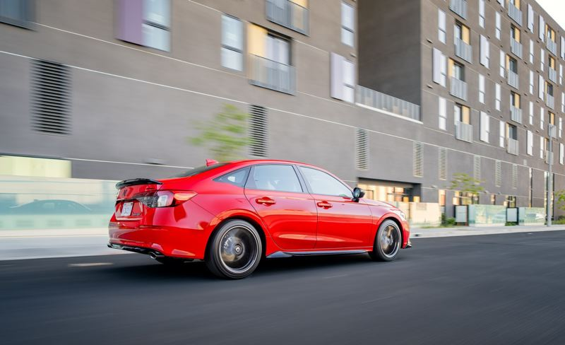 COURTESY AMERICAN HONDA MOTOR CO. - The black alloy wheels on the 2022 Honda Civic Sport are accented by the optional HPD exterior trim package.