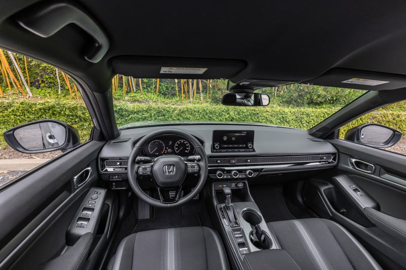 COURTESY AMERICAN HONDA MOTOR CO. - The completely redesigned interior of the 2022 Honda Civic feels larger than before, thanks to the vertical dash design.