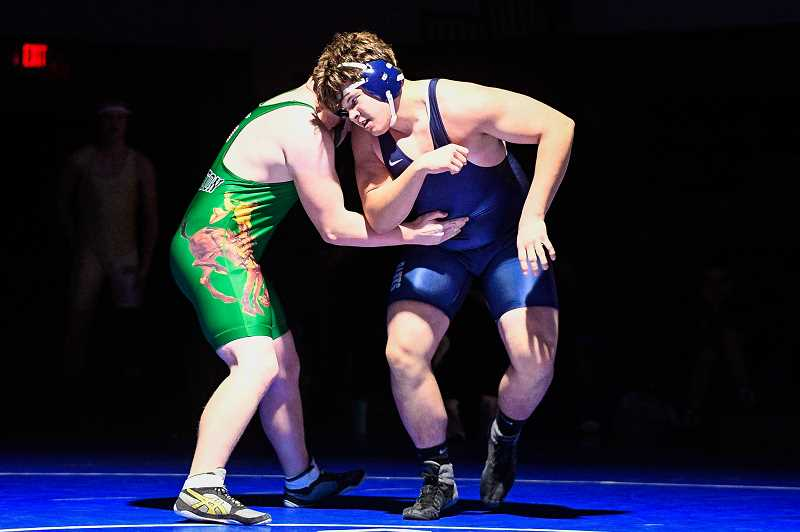 PMG FILE PHOTO - Banks' Ramsey Hering placed third at last month's state wrestling championships. Hering was one of four state-placers for the Braves, and 11 state qualifiers.