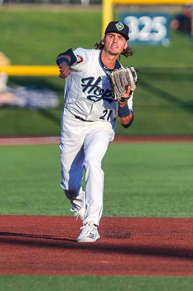 PMG FILE PHOTO: JONATHAN VILLAGOMEZ - Hillsboro's Blaze Alexander during a game earlier this month. Alexander beat-out a double play throw that sparked a seven-run Hops rally against Eugene July 23.