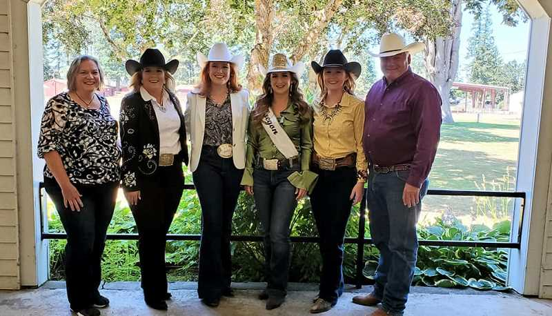 COURTESY PHOTO: MRO - From left to right are Cheri Cornforth, Katie Ralston, Avalon Irwin, Miss Rodeo Oregon Samantha Henricks, Britney Norby and Clay Rhodes.